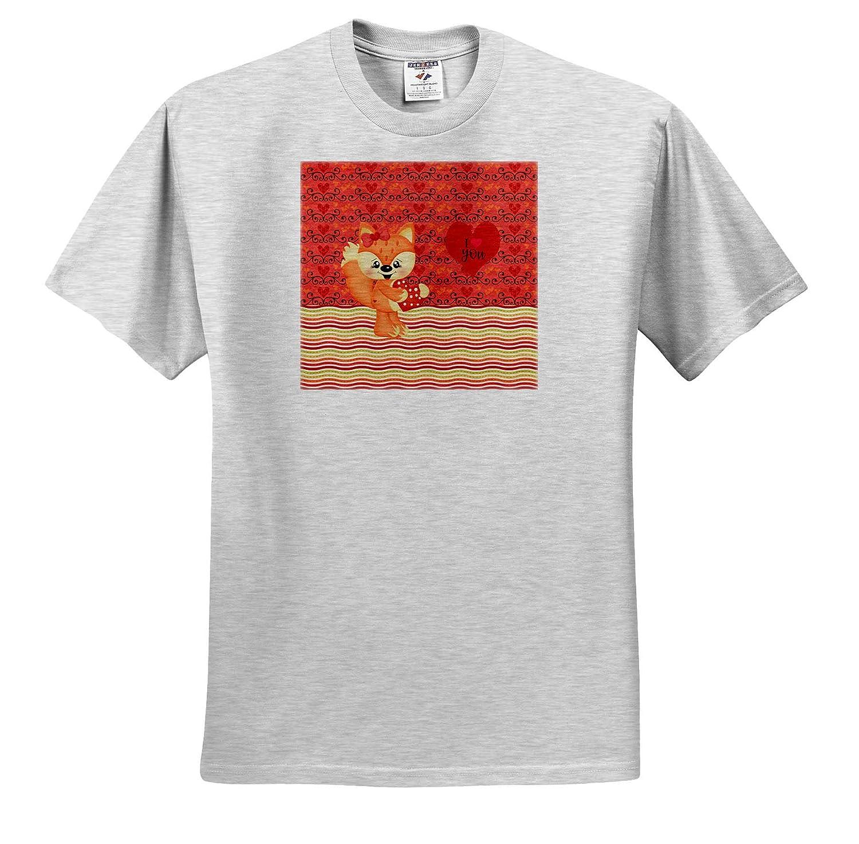 Cute Orange Fox Holding Heart T-Shirts 3dRose Beverly Turner Valentine Design I Love You Heart Wavy Line Design