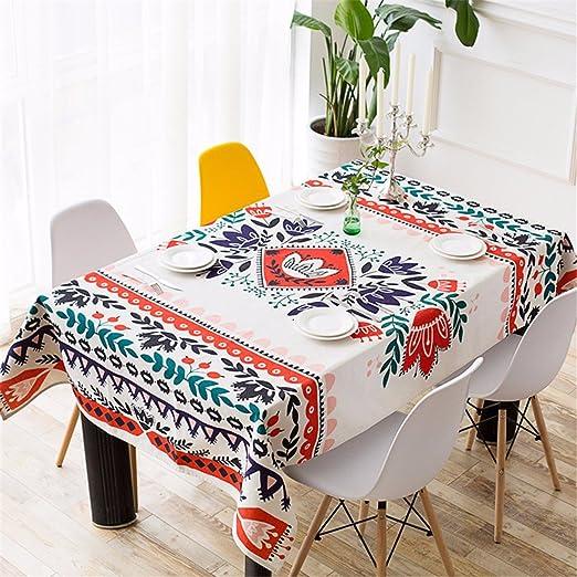 HXC Home Beige y rojo Flores hojas azteca Floral mantel algodón ...