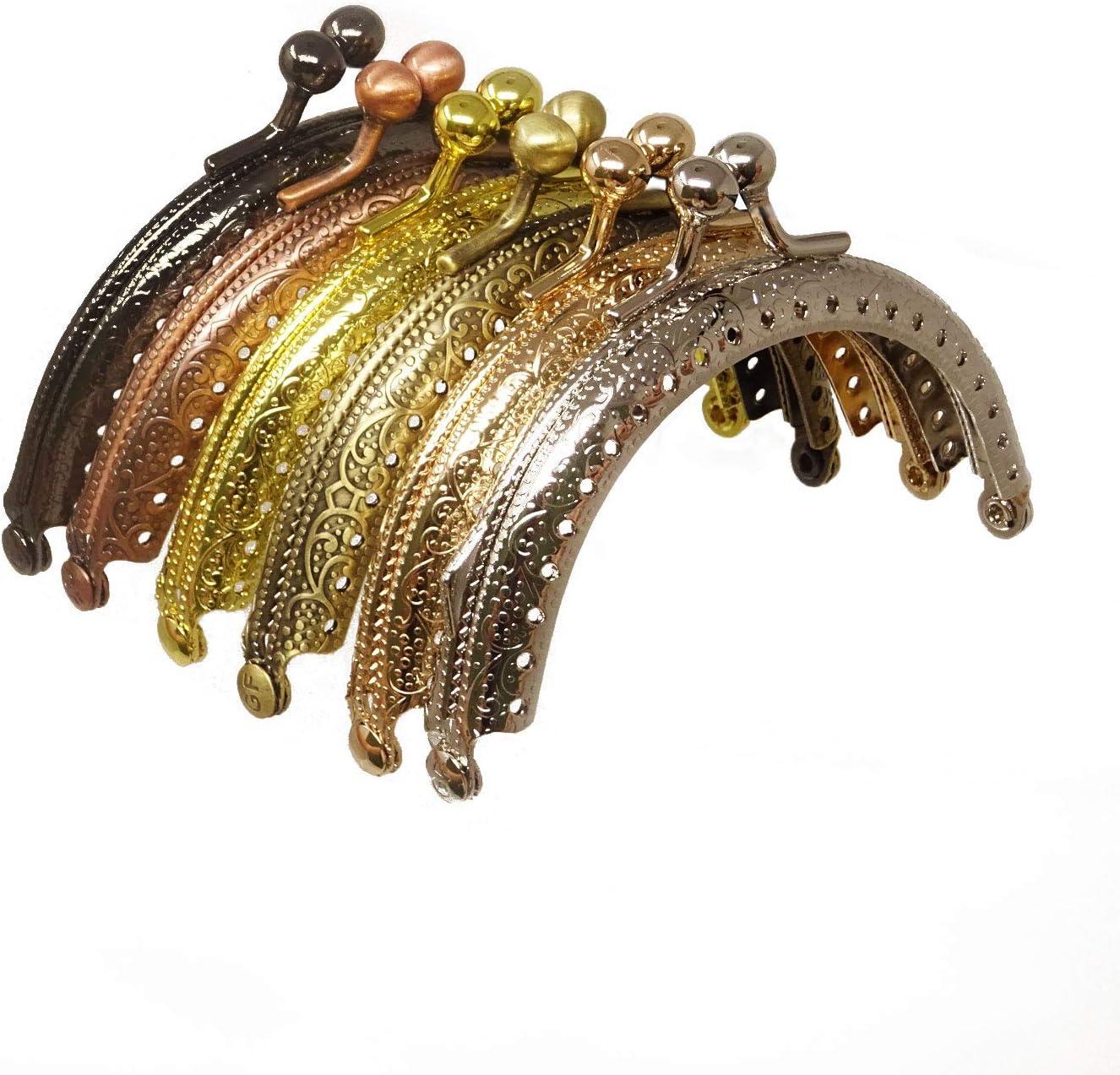 Honbay 6PCS Metal Half Round Purse Frame Coin Bag Kiss Clasp Lock for Purse Making