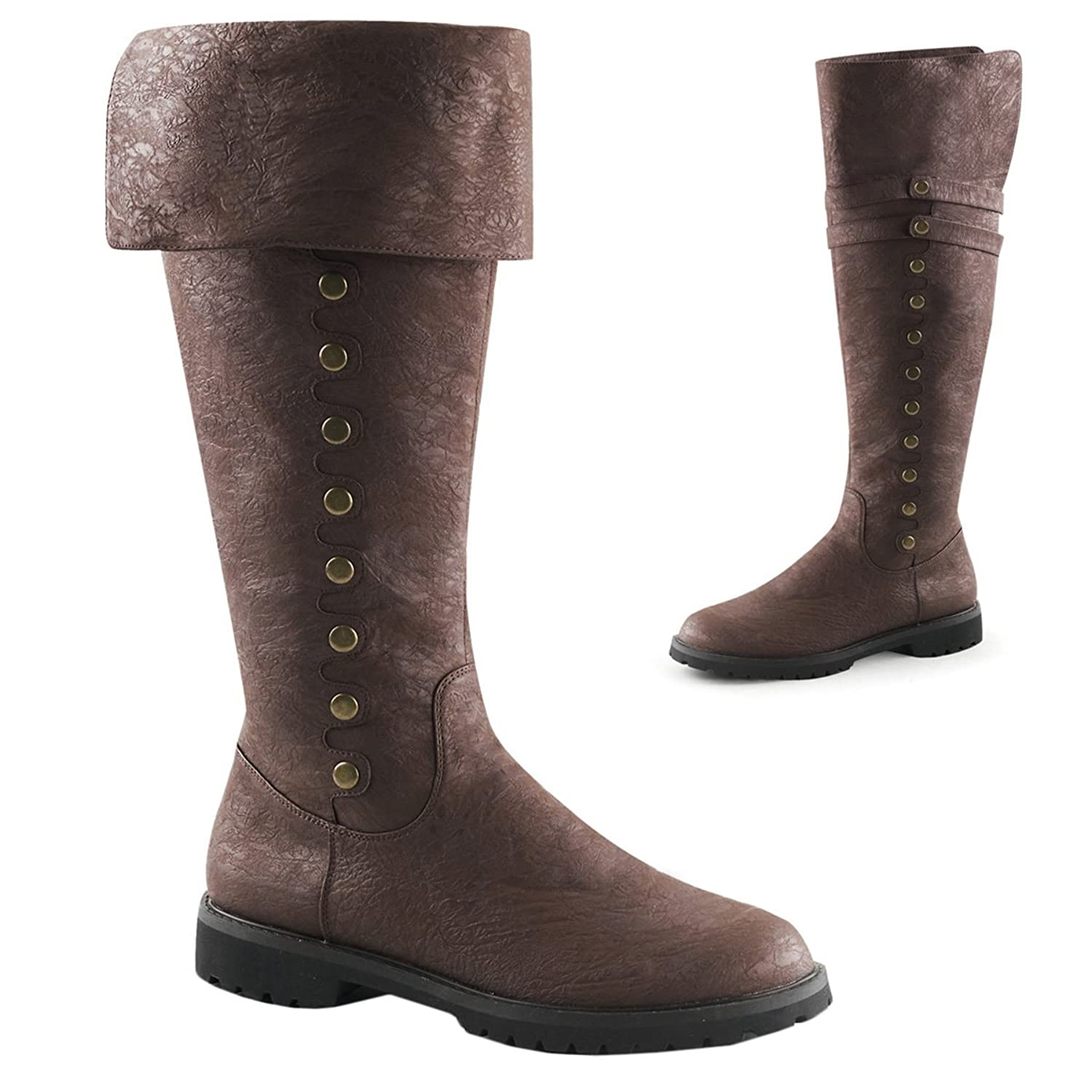 ... Men's Brown Distressed Knee-High Cuffs Gold Buttons Pirate Boots