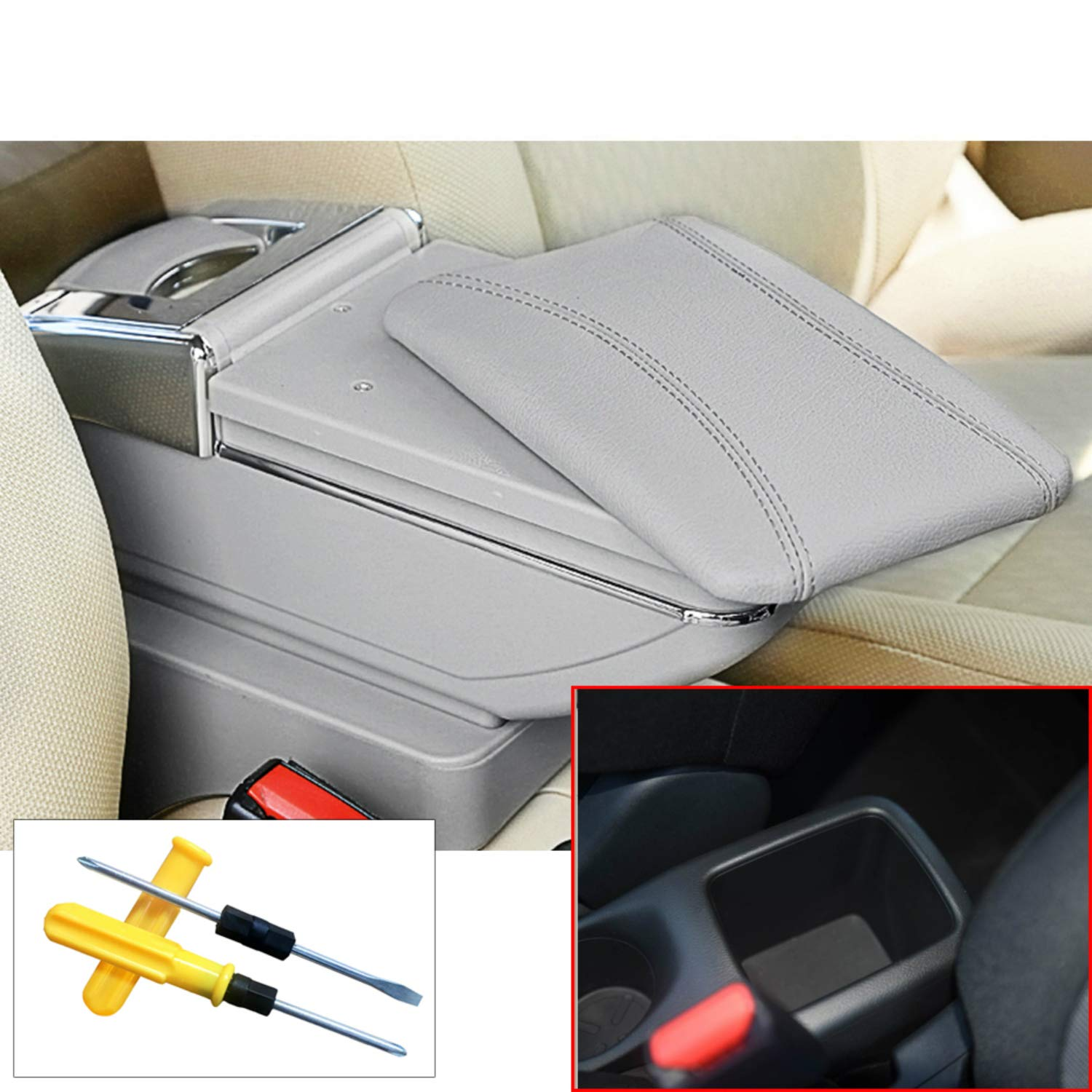 for Nissan Kicks Car Center Consoles Armrest Storage Box Accessories, Arm Rest,with Cup Holder, Removable Ashtray, Black Arm Rest, with Cup Holder MyGone