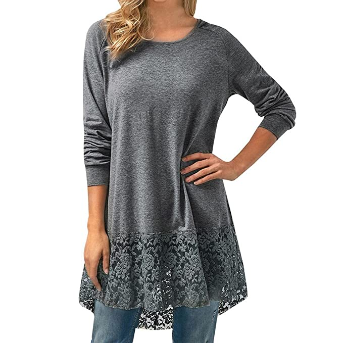 Amazon.com: FORUU womens Tops & Tees Blouse, Womens Casual Long Sleeve Lace Trim Hem Hoodie Loose Tunic Tops FORUU: Clothing