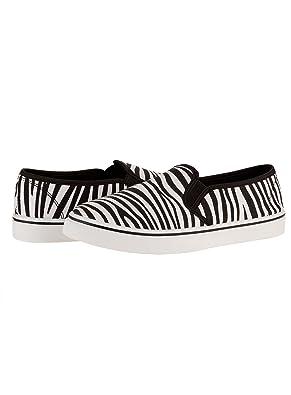 oodji Ultra Mujer Zapatillas Slip On Estampadas de Algodón, Blanco, 39 EU/6 UK