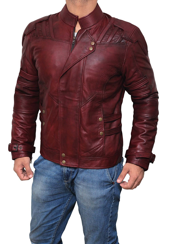 Men Infinity War Star Lord Jacket Real | Maroon, M