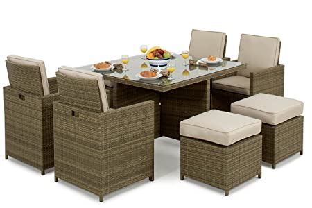 39af63d73495 Image Unavailable. Image not available for. Colour: Maze Rattan 5pc Cube  inc Footstools - Natural Weave - Garden Furniture Dining Set