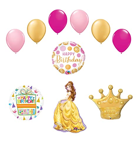 Amazon Beauty and The Beast Belle Crown Princess Balloon Mesmerizing Belle Birthday Decorations