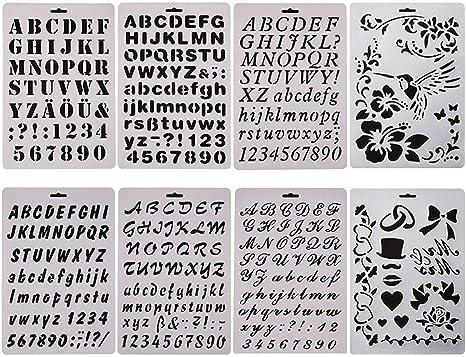 sunswei 8 pcs Bullet diario plantilla para juegos, alfabeto carta dibujo pintura plantillas plantilla para