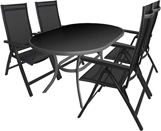 5 piezas. Mobiliario de jardín aluminio mesa de cristal con Negro Cristal Ovalada (140 x 90