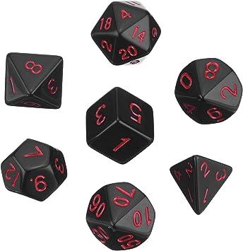 Dados Poliédricos Set de 7-Dados para Dungeons y Dragons con Bolsa Negra (Negro): Amazon.es: Juguetes y juegos