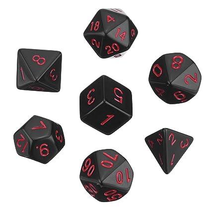 Dados Poliédricos Set de 7-Dados para Dungeons y Dragons con Bolsa Negra (Negro)