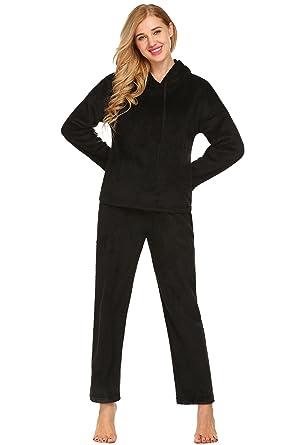 1a50f411ff Ekouaer Womens Fashion Flannel Thick Hooded Nightgown Pajama Set