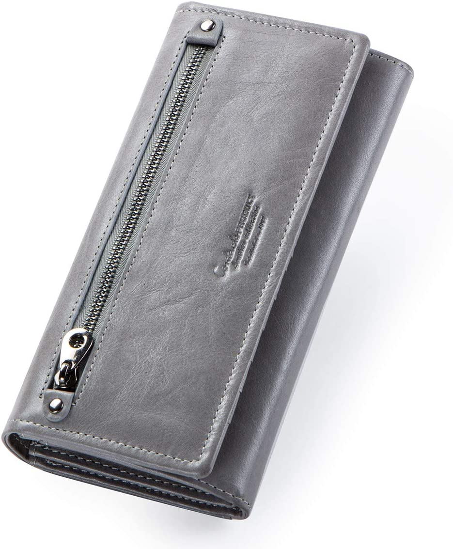 Contacts Womens Genuine Leather Card ID Coin Holder Zipper Clutch Purse Wallet (Gray)
