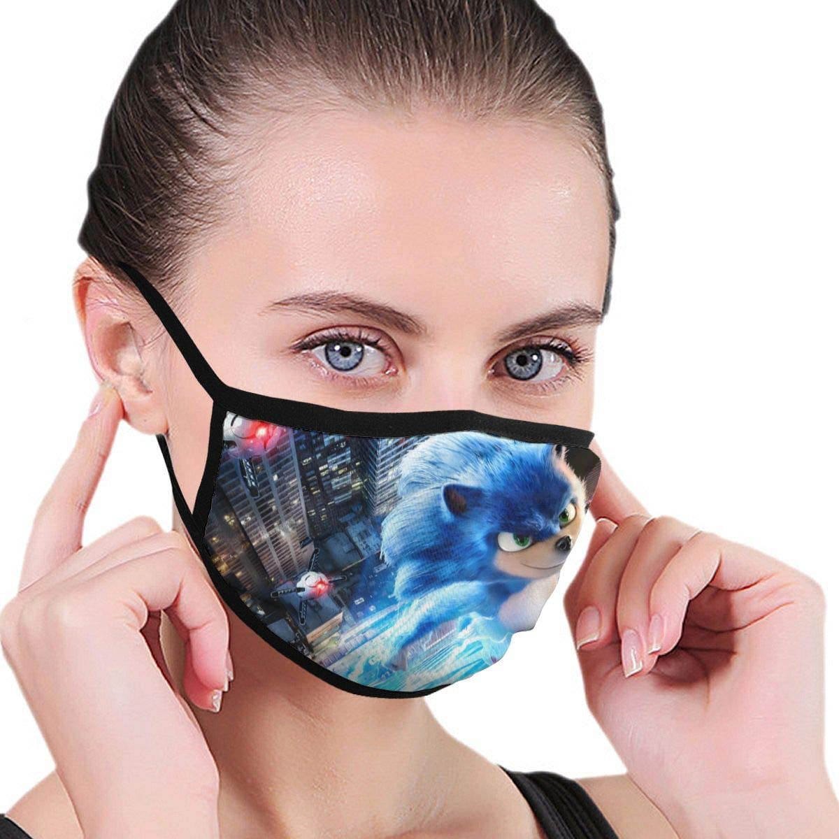 Amazon Com Px Shopping Street Washable Mouth Mask For Kids Teens Sonic The Hedgehog Cartoon Movie Poster Dust Masks With Elastic Ear Loops Hypoallergenic Cycling Winter Cold 80s 90s Warm Masks