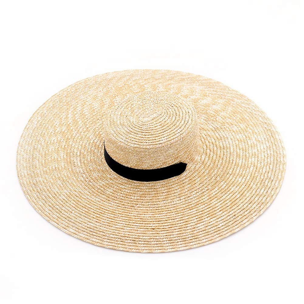 muchique Large Brim Beach Boater Hat, Natural Wheat Straw, Brim Size 7.1'', with Pull-Through Ribbon Chin Tie (Standard Crown, Height 3.35'')