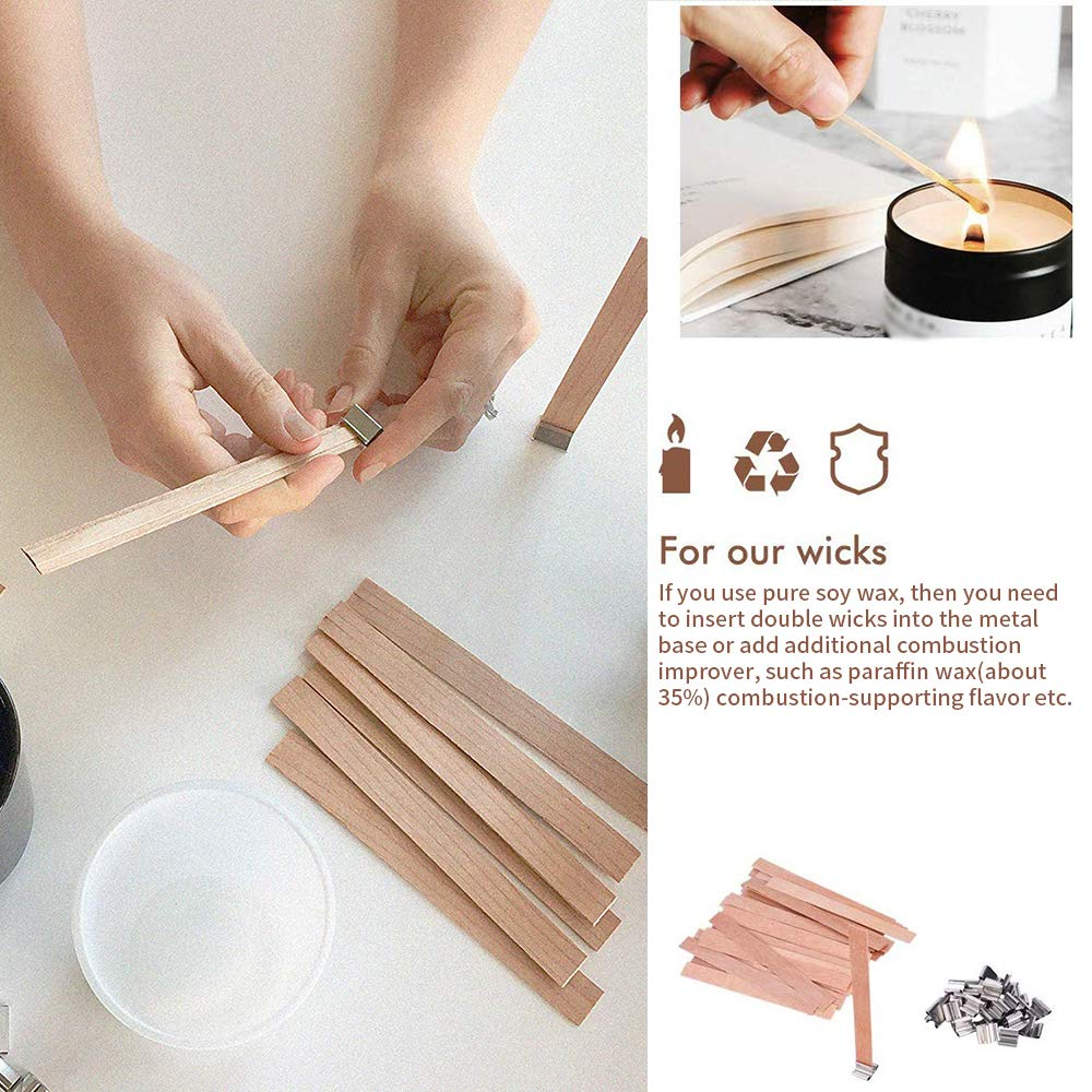 AOZBZ 100 PCS Wood Candle Wicks with Iron Stand Candle Cores,5.1x0.5In Low Smoke Natural Environmental Friendly Wick for Candle Making and Candle DIY Craft