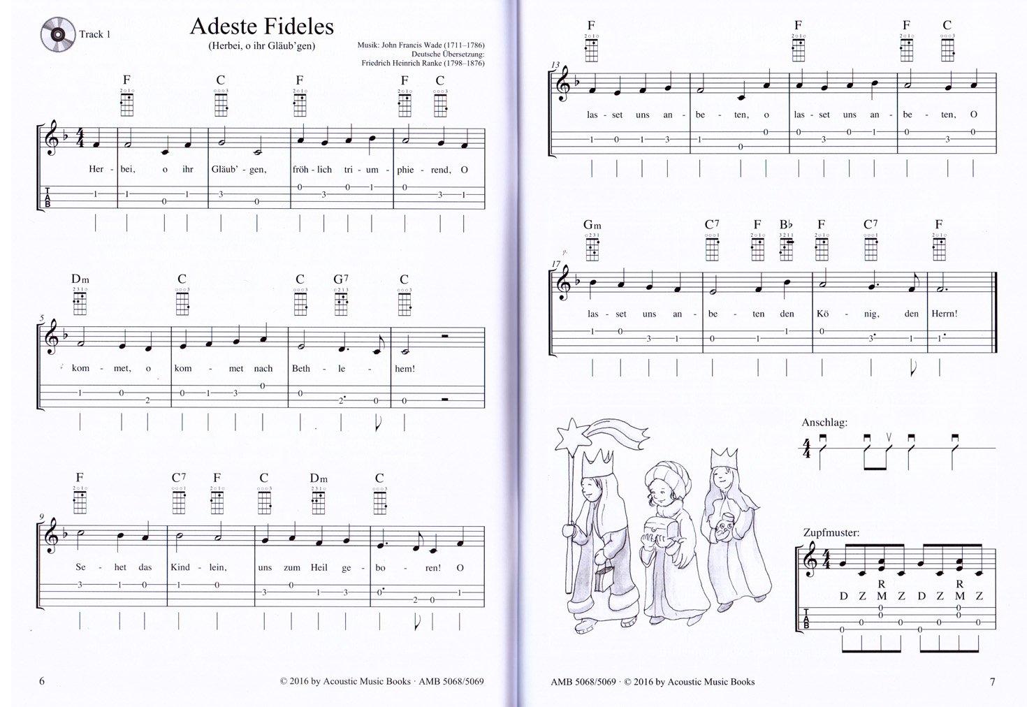 Komm, wir spielen Ukulele! Schönsten Weihnachtslieder für Ukulelen-Spieler  ohne und mit Notenkenntnissen - Notenbuch mit CD und bunter herzförmiger ...