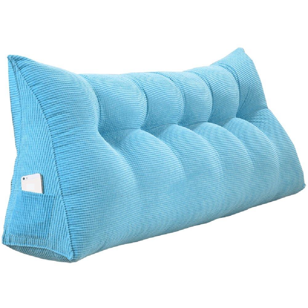 WENZHE クッションベッド 床用靠垫 ウェッジクッション 床靠背护 腰枕 ヘッドボード 布アート ソフトパッケージ ベッド 大きい背 ベッドルーム ソファ 枕 多機能、 EPE充填、 4色、 9サイズ オプション ( 色 : 青 , サイズ さいず : 200×50×20cm ) B07C1PVJXX 200×50×20cm|青 青 200×50×20cm