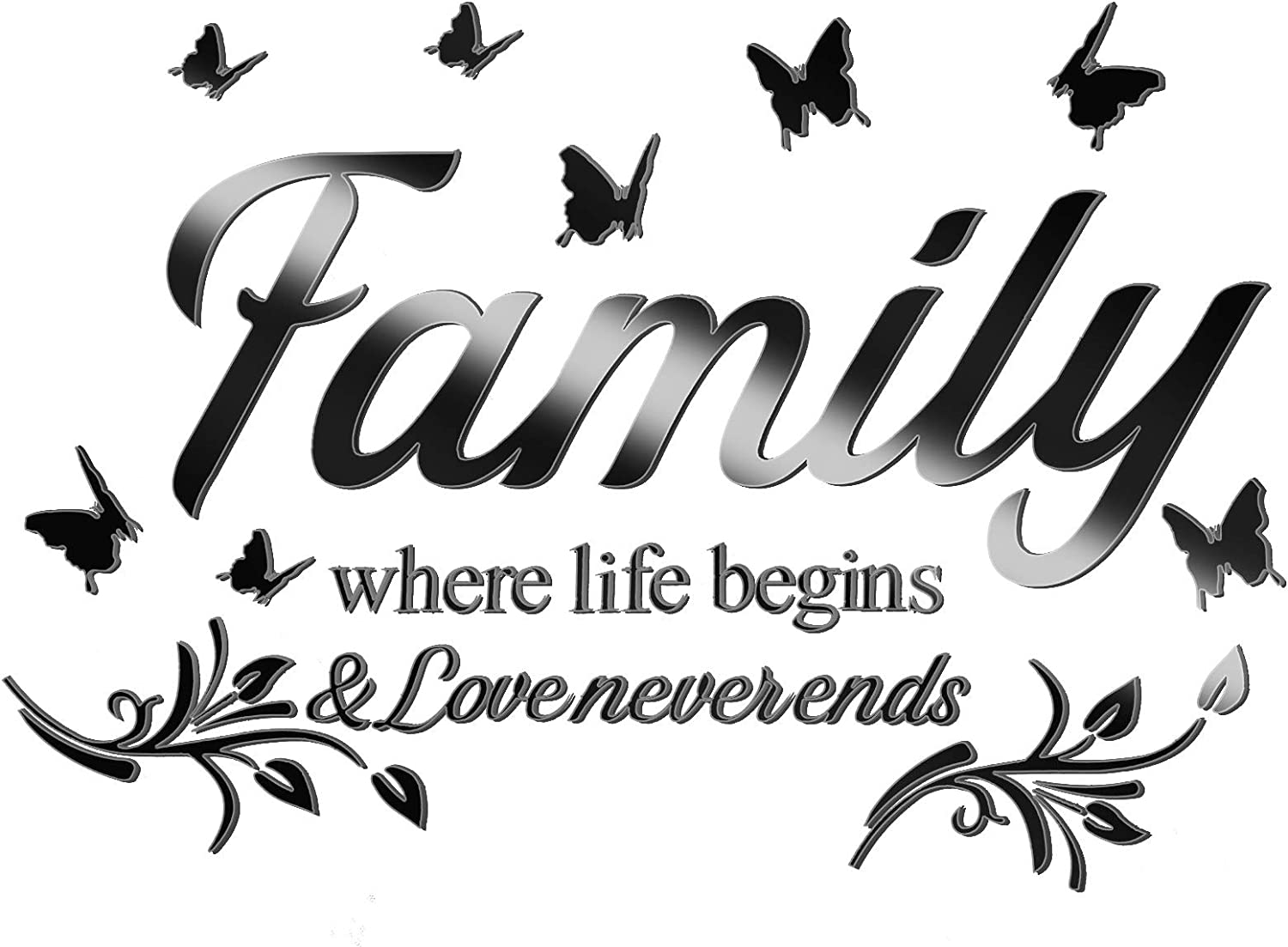 3D Acrylic Mirror Wall Decor Stickers Black Family Letter Quotes Wall Stickers Removable Family Wall Art Decals DIY Motivational Family Butterfly Mirror Stickers for Home Office Dorm Wall Decor