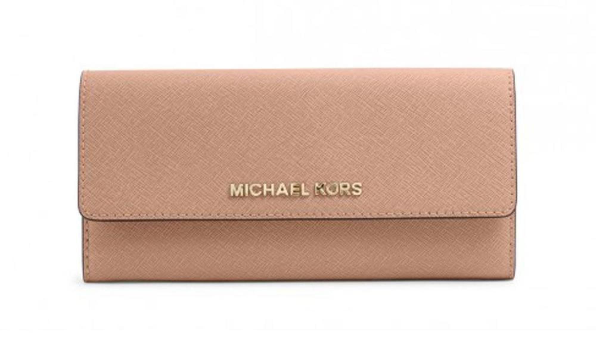 Michael Kors Women's Jet Set Travel Flap Navy Blue Saffiano Leather Continental Carryall Wallet
