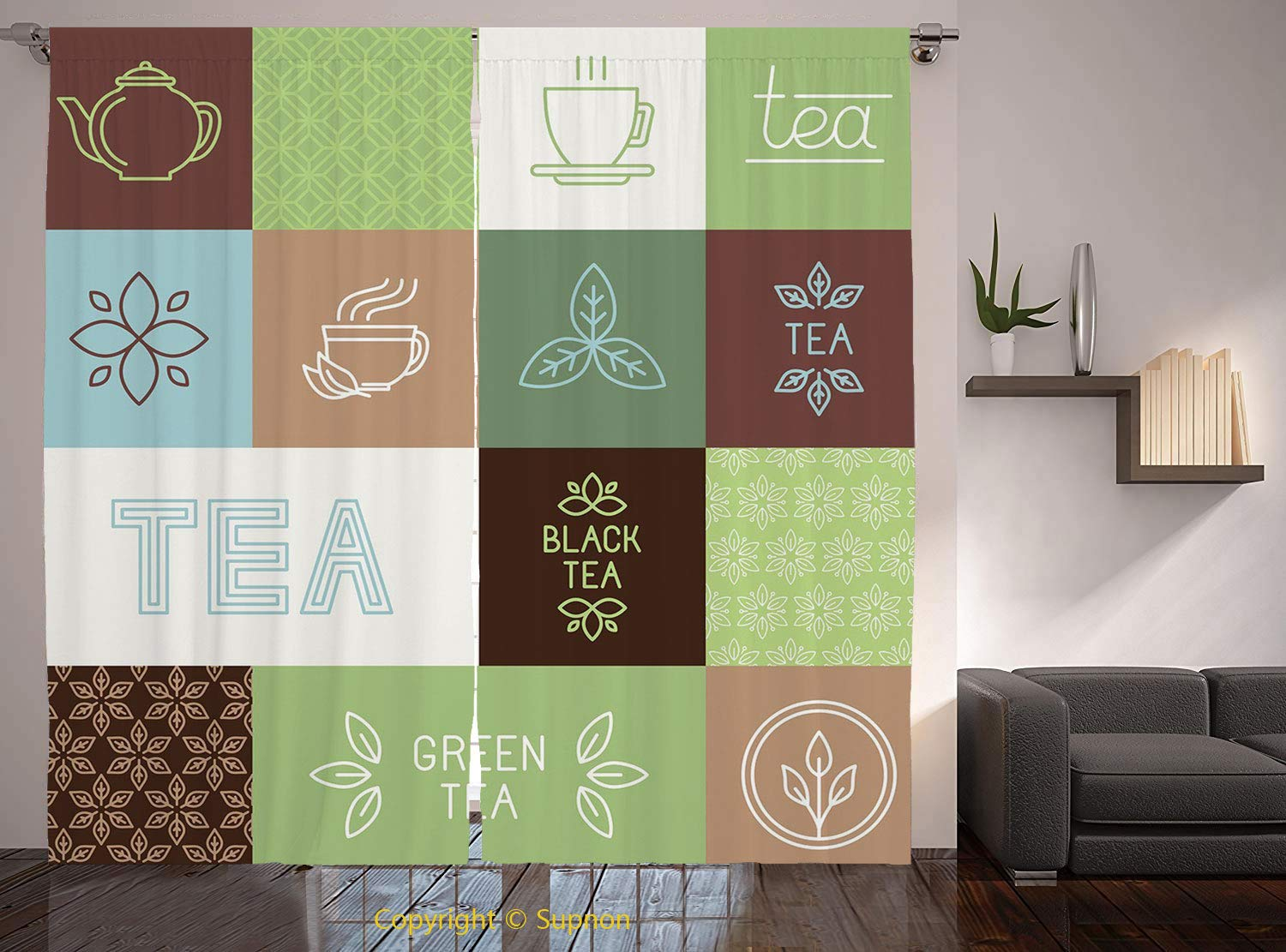 Living Room Bedroom Window Drapes/Rod Pocket Curtain Panel Satin Curtains/2 Curtain Panels/84 x 84 Inch/Tea Party,Checkered Tea Themed Images Symbols Geometrical Soft Colored Minimalist Decorative,Gre