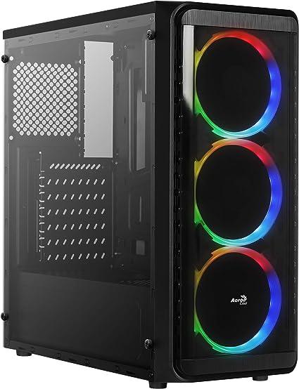 Aerocool SI5200RGB, caja de PC ATX, panel lateral, 3 ventiladores ...