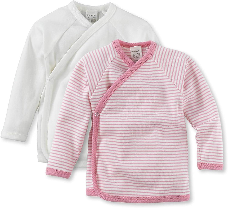 hessnatur Baby M/ädchen und Jungen Unisex Langarm Wickelhemd aus Reiner Bio-Baumwolle 2er-Set