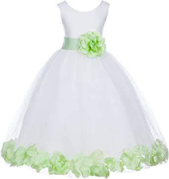 Ivory Tulle Rose Floral Petals Flower Girl Dress Girls Party Dresses 302S
