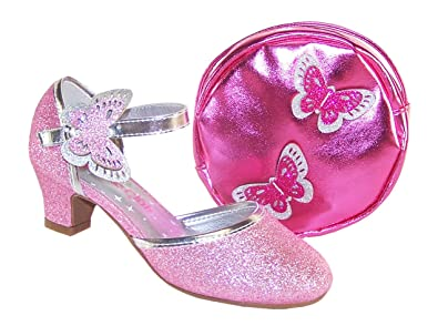 Girls Pink Sparkly Low Heeled Party Occasion Glitter Shoes and hot Pink  Round Over The Body 4401cef2c