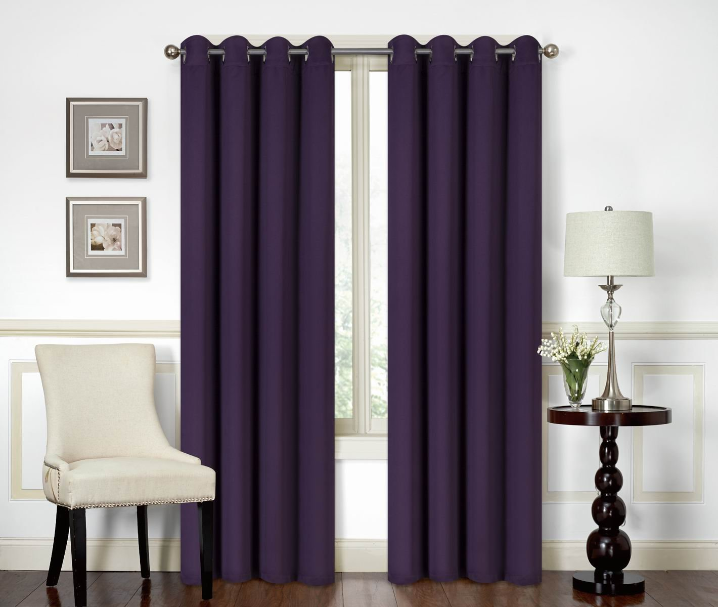 All American Collection New 2 Panel Curtain Set Solid Machine Woven Blackout with 8 Grommets Purple