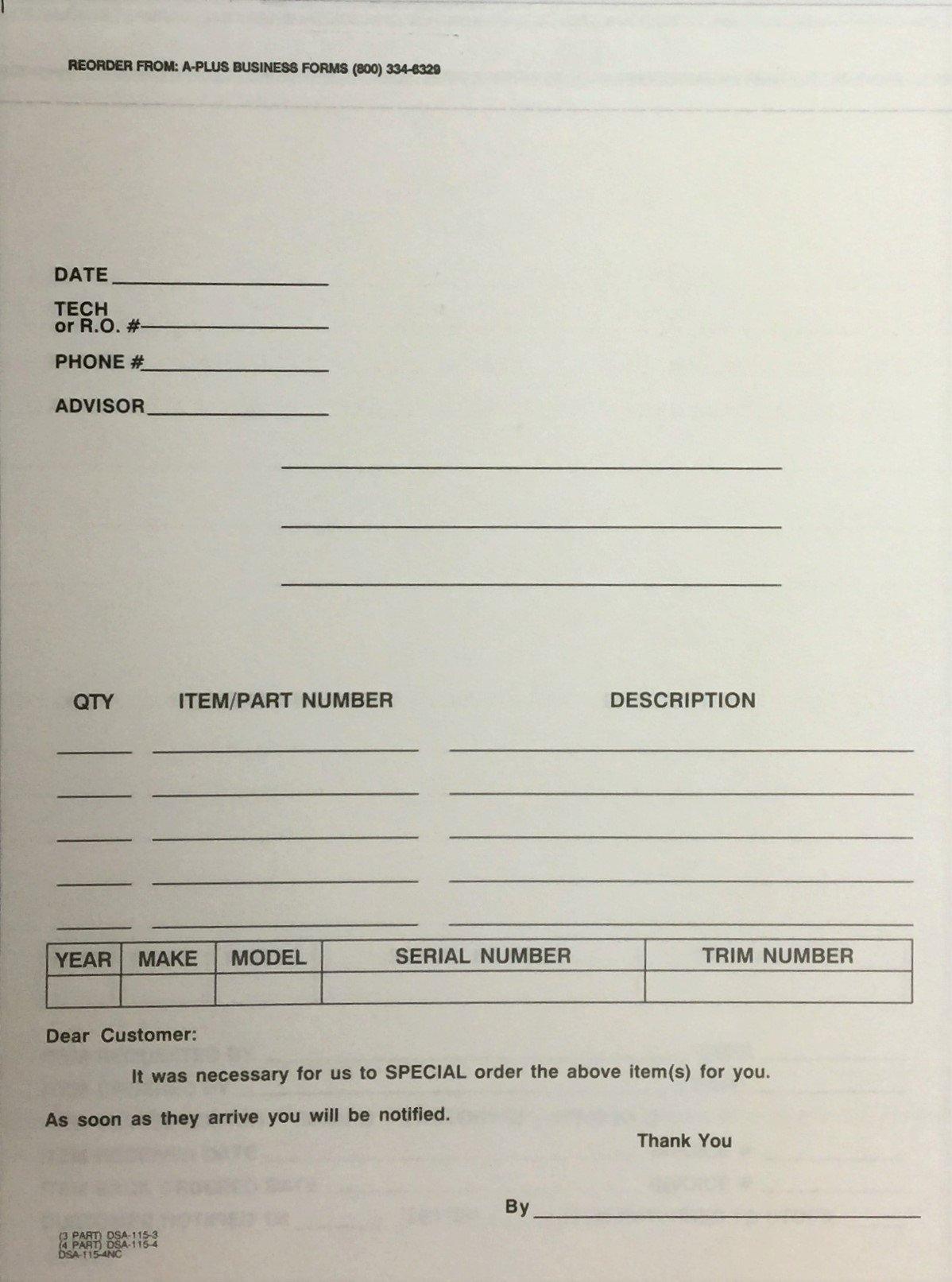 Special Parts Order Form - DSA-115 - 100 Qty. (R79)