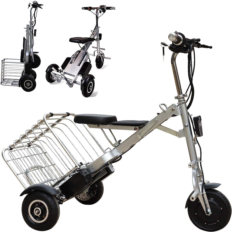 Bicicleta Electrica Plegable Urbana, Peso ligero Ebike Triciclos Eléctricos Adulto con 36V 5AH(180Wh) Batería de Litio-Ion, Motor de 250W, Eje trasero de 55cm, para Asistencia de Movilidad Y Viajes