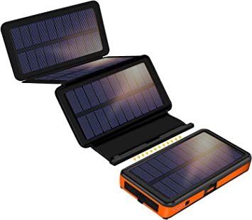 Cargador solar de 25000 mAh, F.Dorla con 4 paneles solares desmontables, 2 entradas y 2 salidas de 2,1 A, linterna LED, batería externa impermeable ...