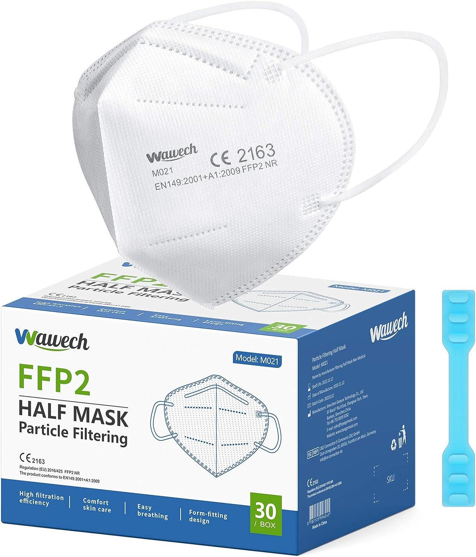 Wawech Mascarillas FFP2 Mascarillas Desechables Con Orejeras Ultra Protección Homologada para adults y bebe( 30 Piezas)
