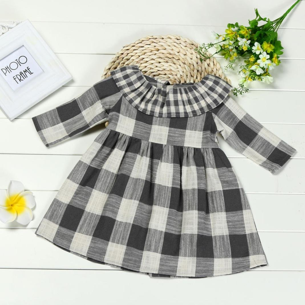 KONFA Teen Baby Girls Retro Golilla Little Princess Dress,Suitable For 0-4 Years Old,Long Sleeve Plaid Skirt Set