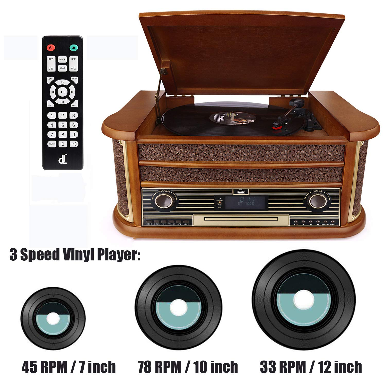 CD // MP3 // Cassette Juegos Radio FM D /& L 7-in-1 Dab Tocadiscos Vintage Madera con Bluetooth USB Play /& Encoding Altavoces est/éreo Integrados