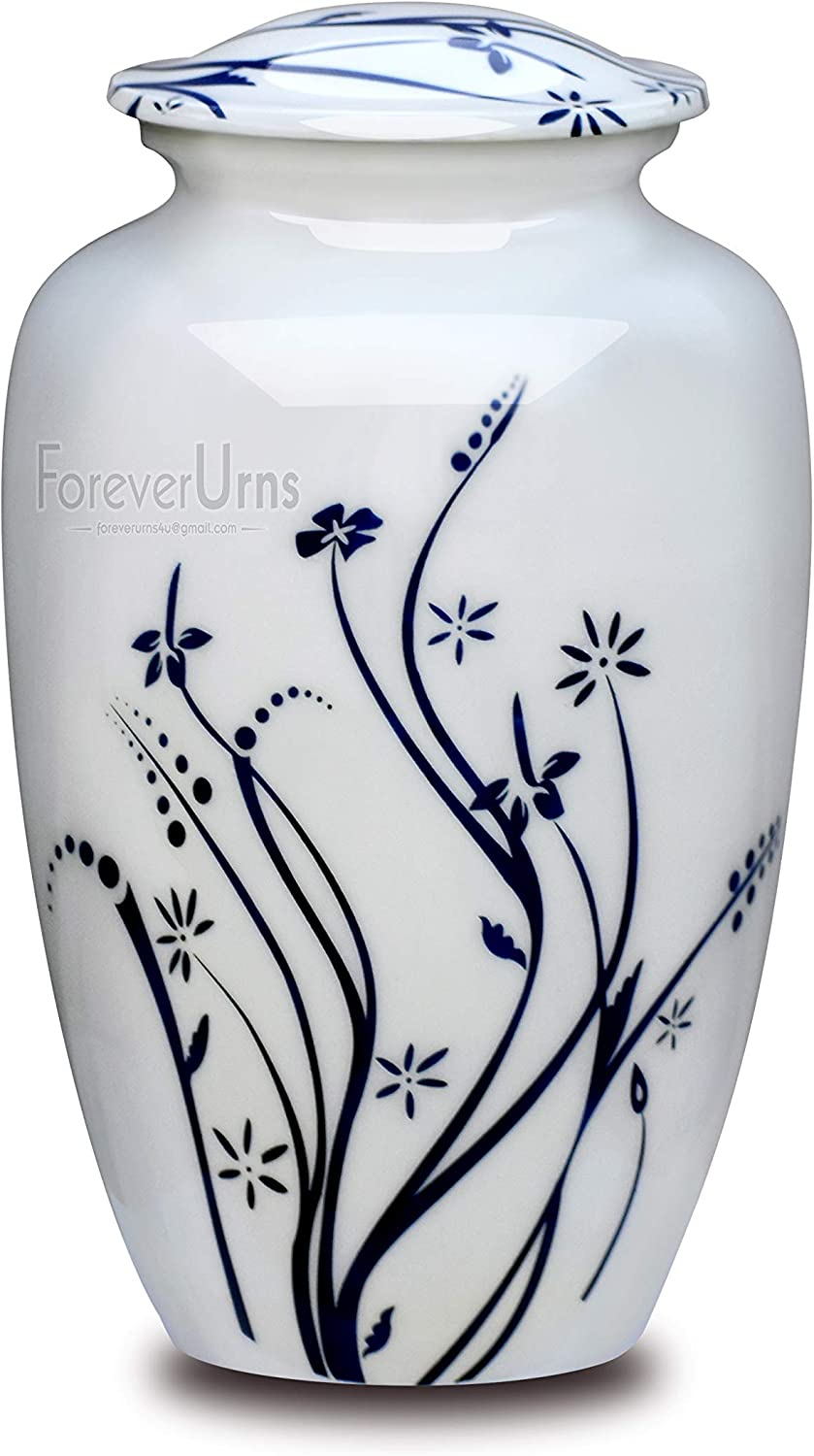 Adult Cremation URNS for Ashes- White Garden with Blue Leaf Cremation Urn for Human Ashes - Completely Handcrafted with Volume 200 Cu. in. with Velvet Protection Bag.