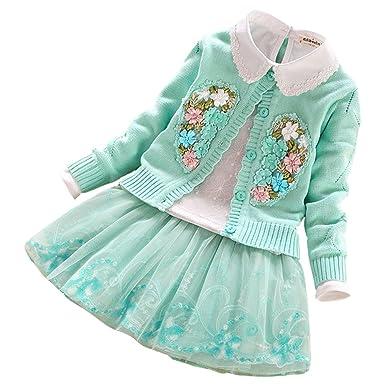 Lserver Lserver Mädchen 3 Stücke Strick Pullover Kleid Winter Häkeln