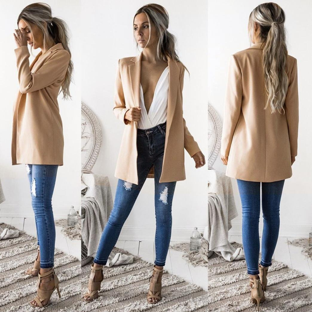 WensLTD Womens Open Front Work Office Cardigan Blazer Long Sleeve Jacket Outwear