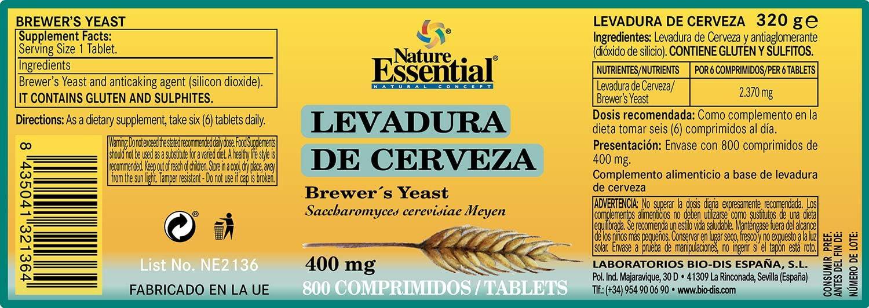 Nature Essential Levadura de cerveza 400 mg - 800 comprimidos