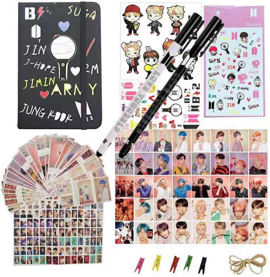 Bangtan Boy Gift Set,1 Box 360 Pcs Postcards Set,40 Pcs Map of The Soul Lomo Cards,1 Notebook,2 Tattoo sticker1 3D Cartoon Sticker