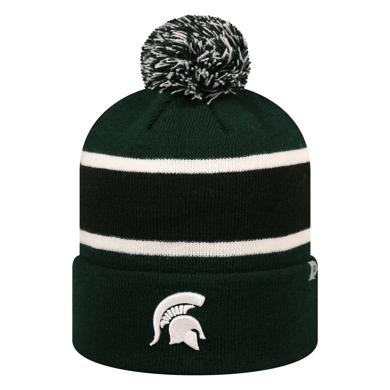 b8e1639e299 Amazon.com   Michigan State Spartans Whirl Cuffed Pom Knit Beanie Hat   Cap    Sports   Outdoors