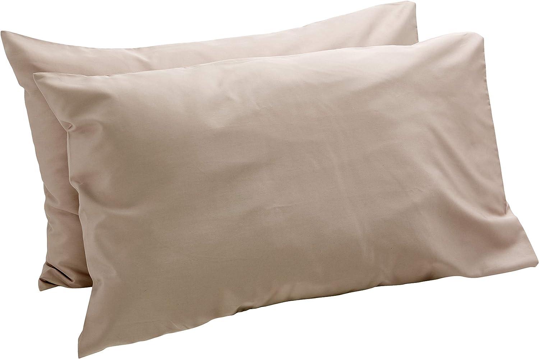 AmazonBasics - Set de 2 fundas de almohada de 400 hilos, 50 x 80 cm - Gris Piedra