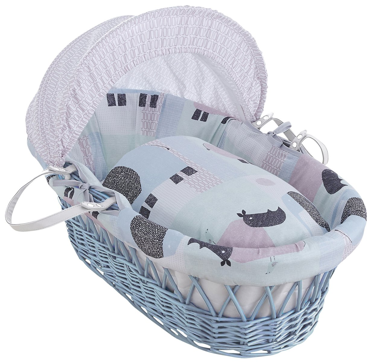 Clair de Lune Stanley & Pip Blue Wicker Moses Basket inc. bedding, mattress & adjustable hood CL5790BE