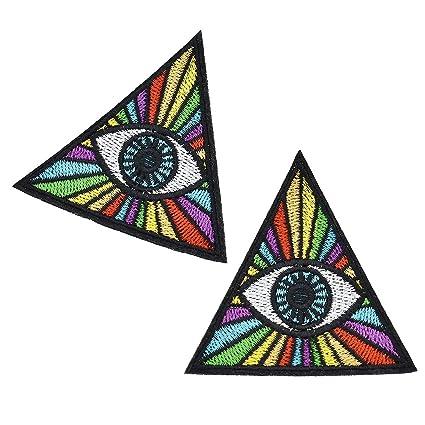 Amazon.com: Iron On Evil Eye Appliques Embroidery Rainbow Triangle on rainbow tree, rainbow company, rainbow crane, rainbow golf,