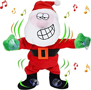 JOYIN Window Cling Animated Dancing Moving Santa Claus with Music 1ft Tall for Christmas Decoration, Stocking Stuffers, Home Decor, Xmas Gift