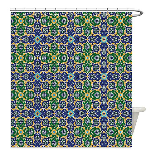 Liguo88 Custom Waterproof Bathroom Shower Curtain Polyester Arabian Decor Ornate Arabic Ethnic Mosaic Oriental Eastern Patterns with Damask Tribal Art Decor Yellow Green Teal Decorative bathroom by liguo88