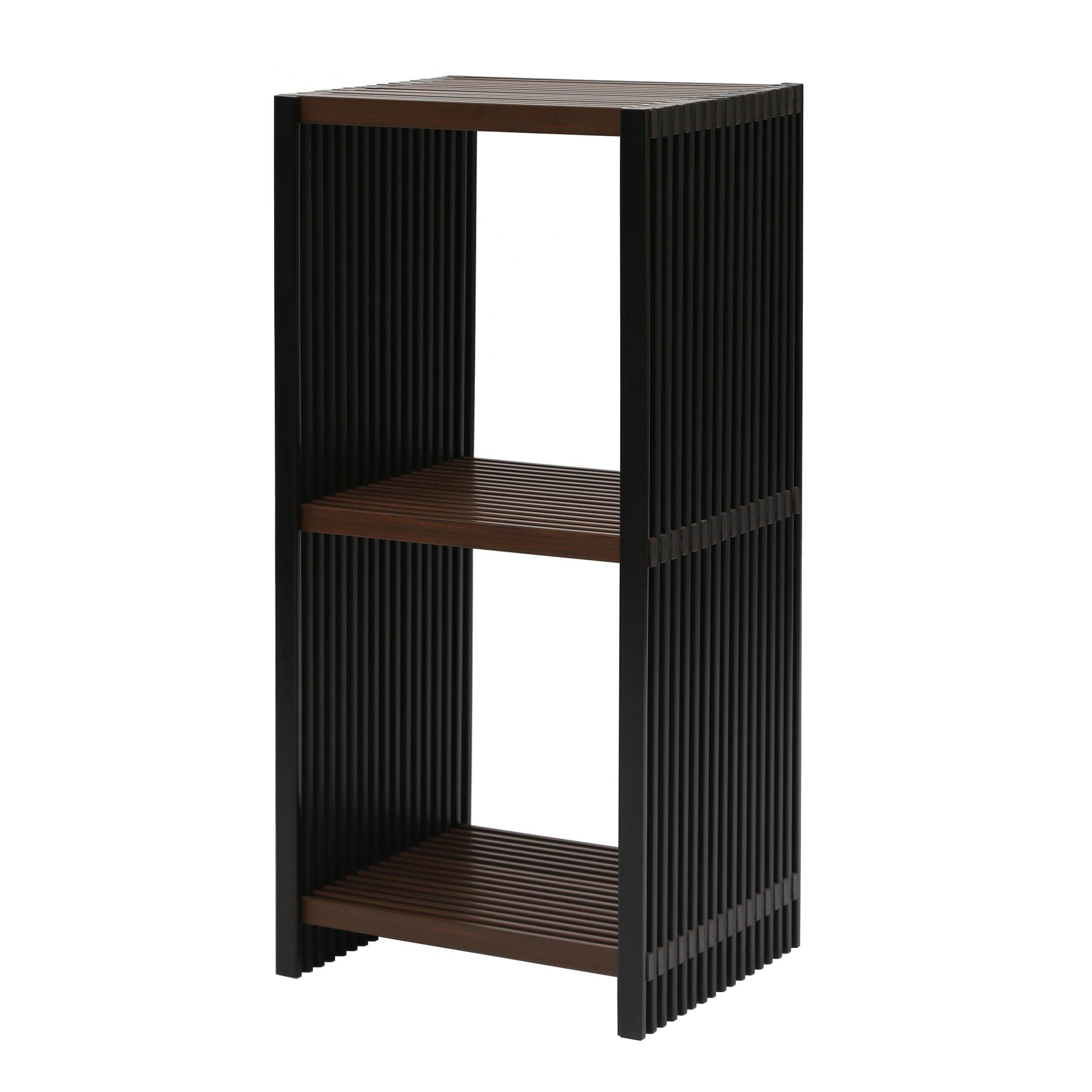 Seville Classics 3-Tier Two-Tone Folding Cube Bookcase Shelf, Ebony & Walnut