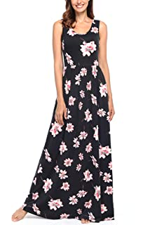 dccd53fd6 Comila Women's Summer Sleeveless Floral Tank Maxi Dress Casual Long Dress  Pocket