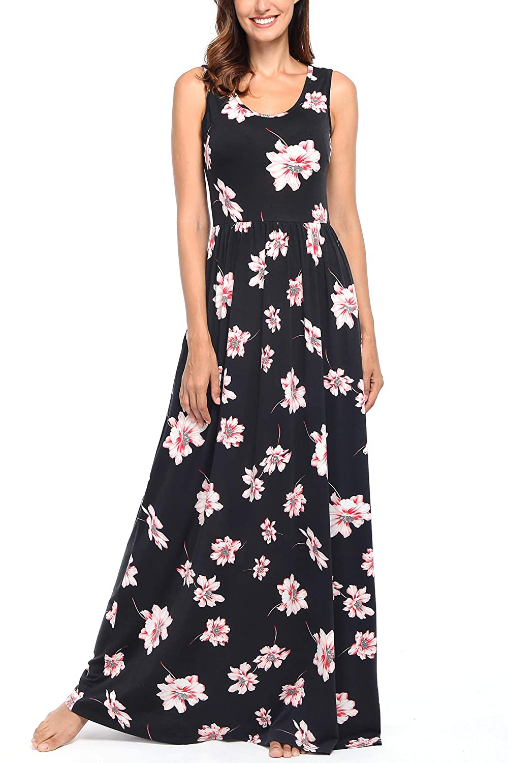 Black  Pink Comila Women's Summer Sleeveless Floral Tank Maxi Dress Casual Long Dress Pocket