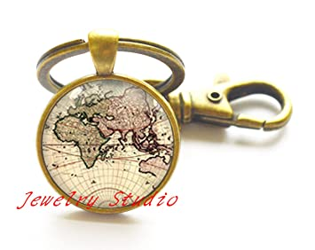 Amazon world map keychain post earth key ring simple world map keychain post earth key ring simple keychain globe earth keychain gumiabroncs Image collections
